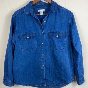 90's Vintage Denim Button Down W/ Flannel Pockets